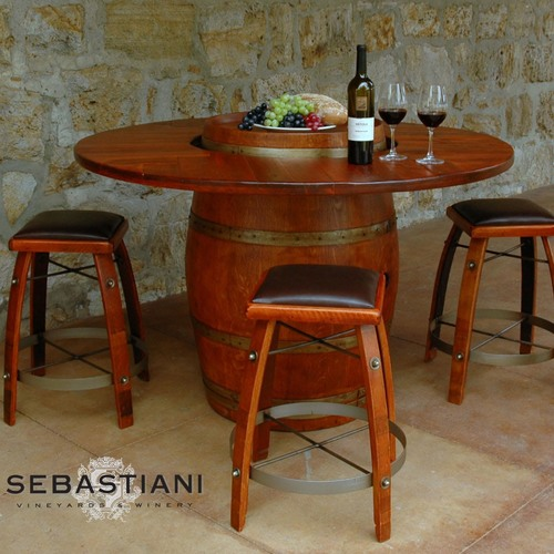 Swell Wine Barrel Table Set W 4 Stools Pdpeps Interior Chair Design Pdpepsorg