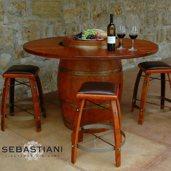 Barrel Table And Chairs For Sale: Wine Barrel Table Set W/4 Stools