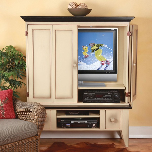 Southern Pine Flatscreen Tv Cabinet With 2 Drawer Media