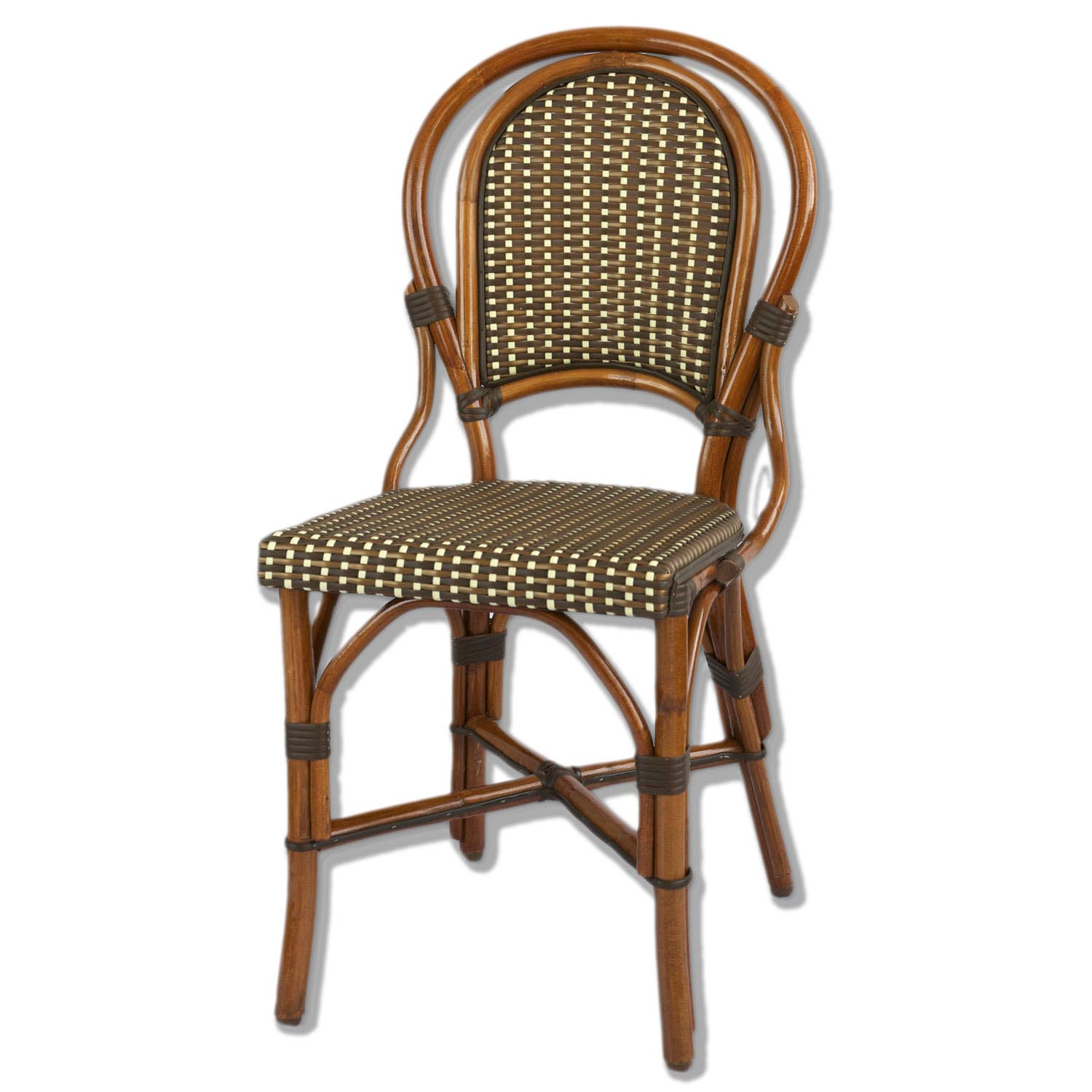 . Marais Rattan Bistro Chair Ivory Brown Bronze   American Country