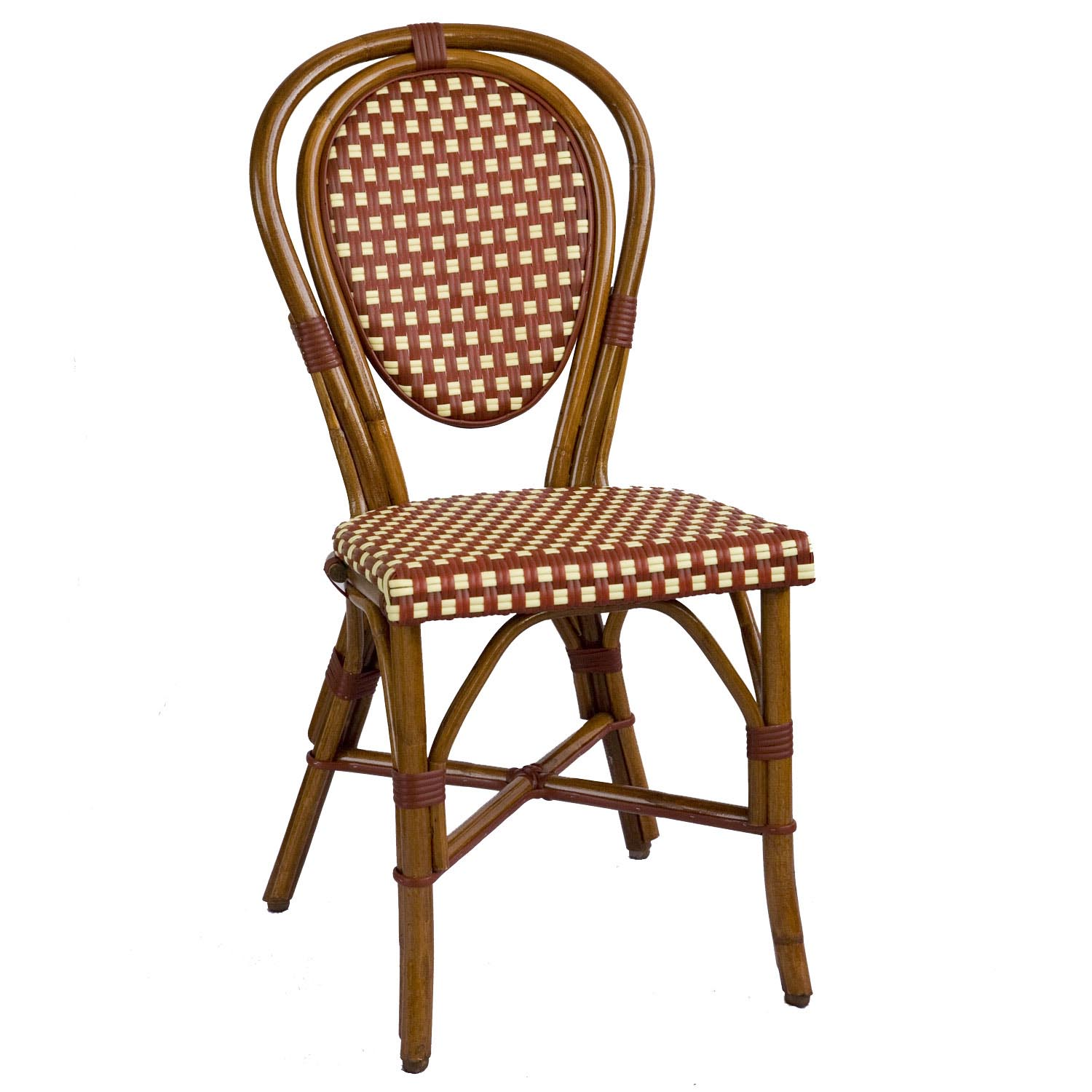 . Parisian Rattan Chair   Burgundy Cream SQ   American Country