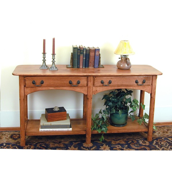 Southern Pine Shaker Two Drawer Sofa Table