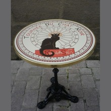 "24"" French Enamel Top w/3 Prong Base - Chat Noir"