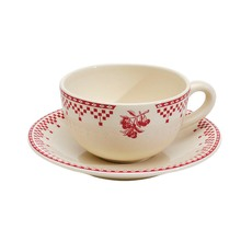 Damier Red Breakfast Cup and Saucer