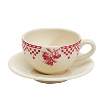 Damier Red Tea Cup and Saucer