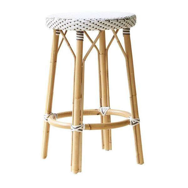 Simone Counter Stool by Sika in White with Cappuccino Dots