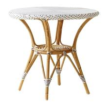 Danielle Cafe Table by Sika in White w/Cappuccino Dots and Glass Top