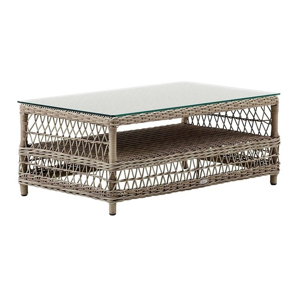 Hazel Coffee Table by Sika in Antique with Glass Top