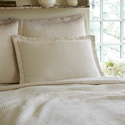 Hudson cream stripe king sham
