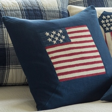 c2783d85508a Indigo Linen Flag Porch Pillow by Taylor Linens
