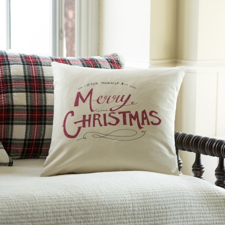 Merry Little Christmas Canvas Porch Pillow by Taylor Linens