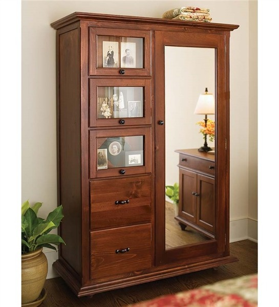 Southern Pine Cottage Armoire with Mirror
