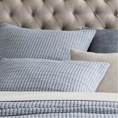 pick stitch navy matelasse sham