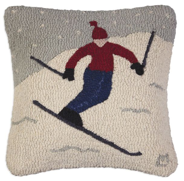 Play Day Skier Hooked Pillow