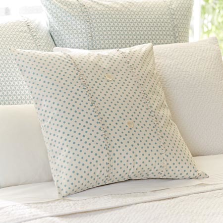 polka dot aqua porch pillow