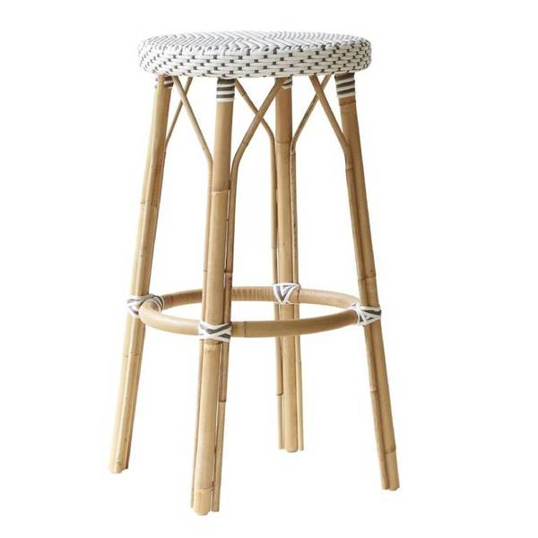 Simone Stool by Sika White with Cappuccino Dots