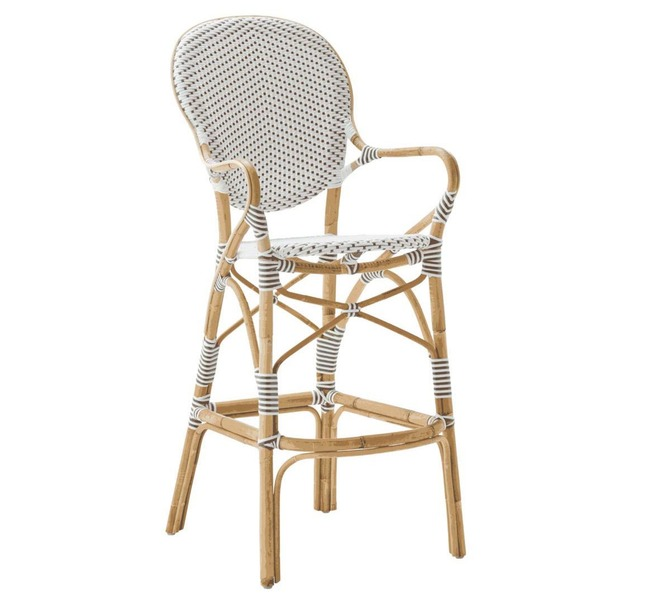 Isabell Counter Stool by Sika White with Cappuccino Dots
