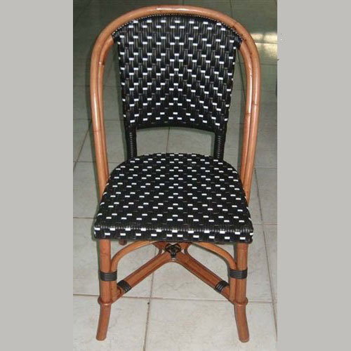 St. Germain Rattan Bistro Chair - Black w/white