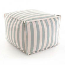 Pouf-Trimaran stripe light blue ivory