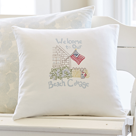welcome beach cottage pillow
