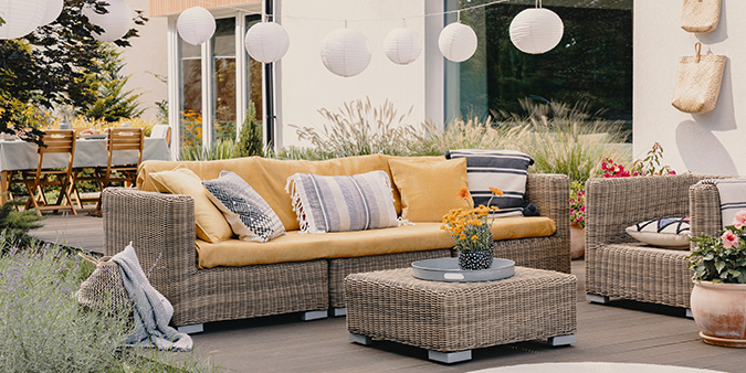 A Wicker Furniture Collection in a quiet outdoor space